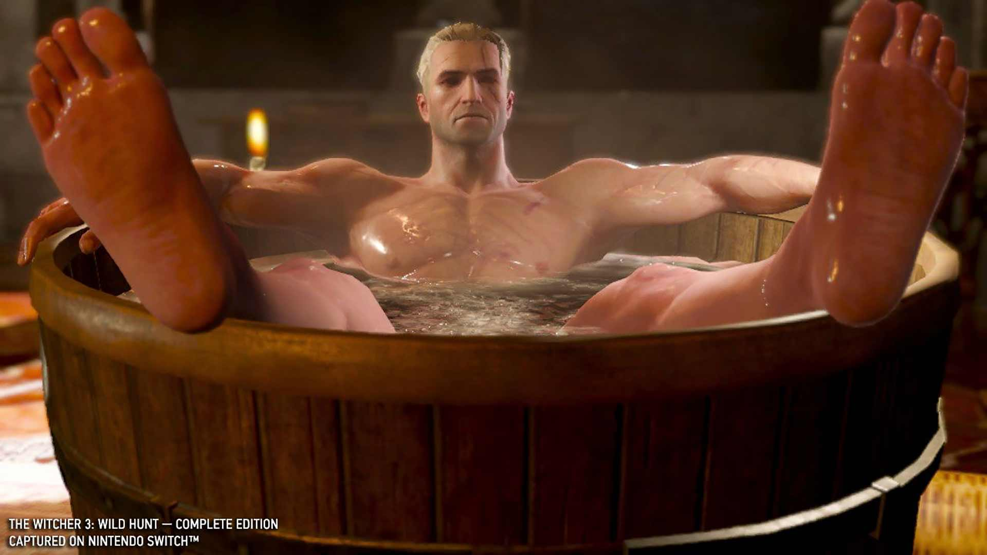 The Witcher 3: Wild Hunt Geralt in bathtub