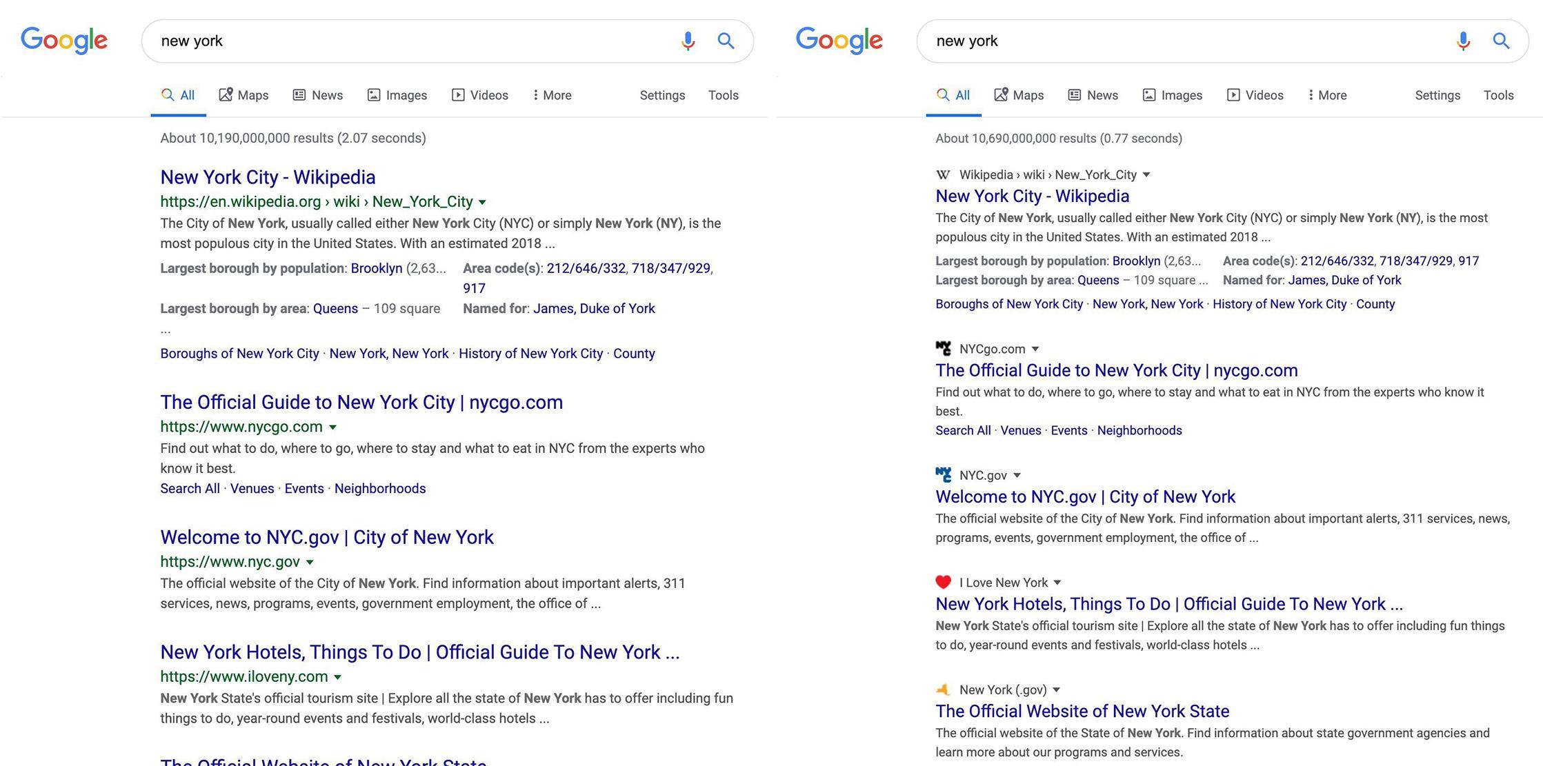 Google Search change