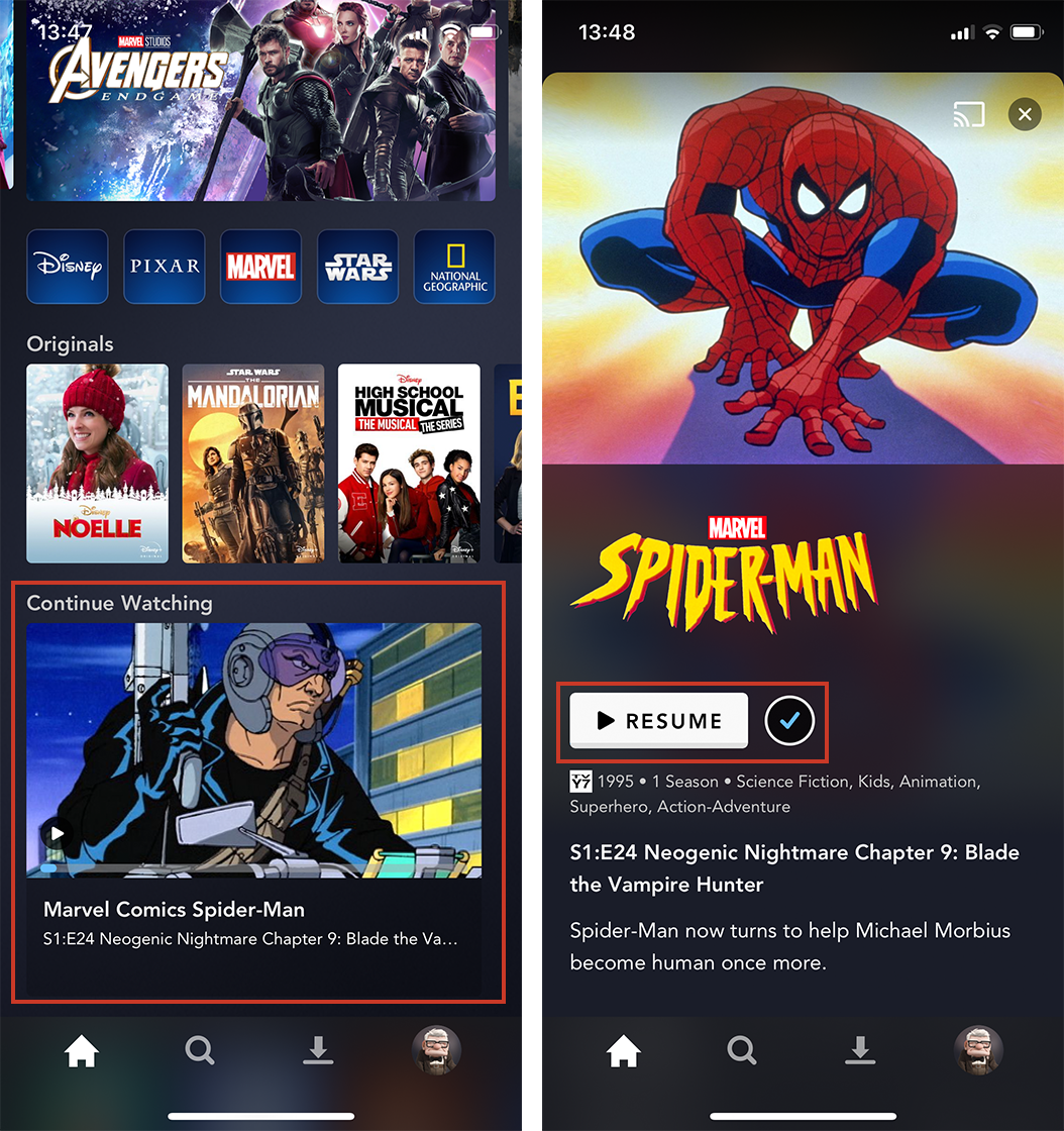Disney+ continue watching feature