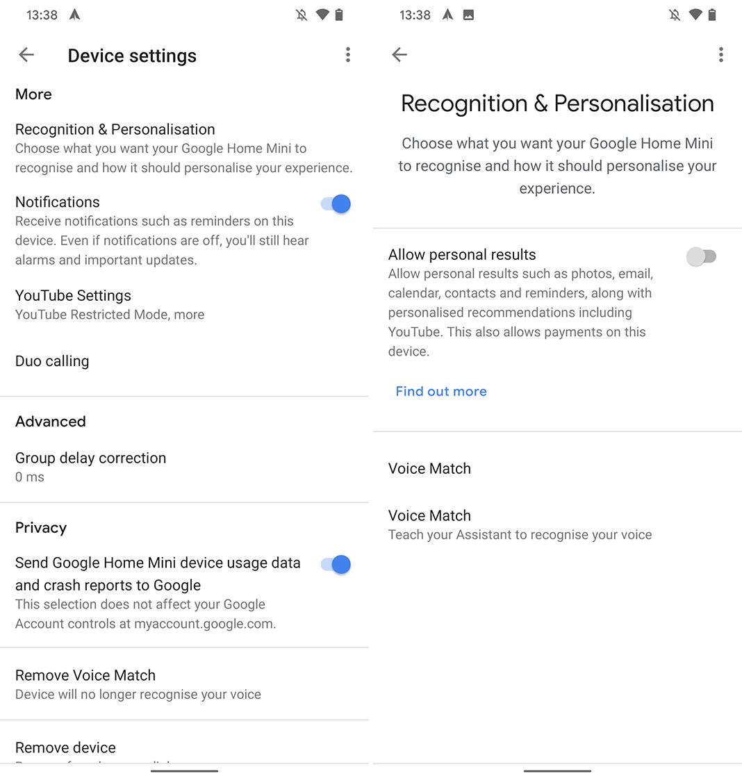 Google Home app Recognition & Personalization menu