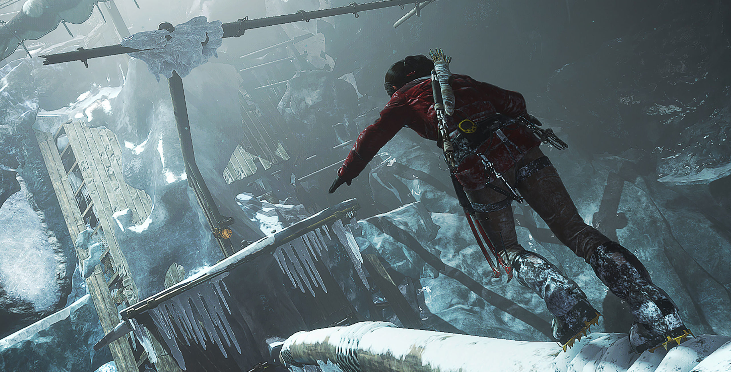 Lara carefully treads across the frozen stern of a derelict ship, which has made its way into a huge, icy cavern.