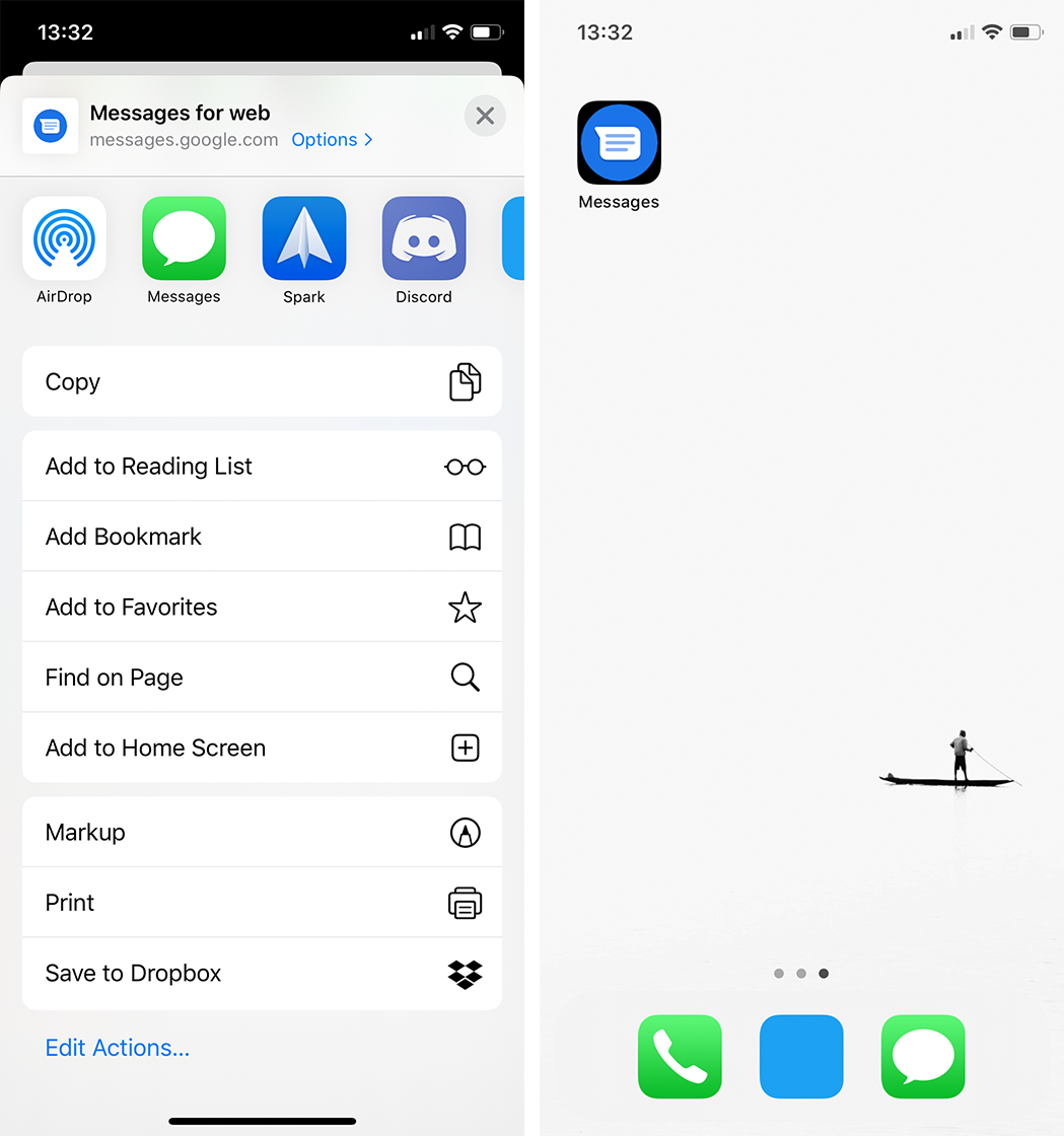 Saving a Messages bookmark on iOS