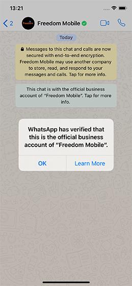 Freedom Mobile WhatsApp