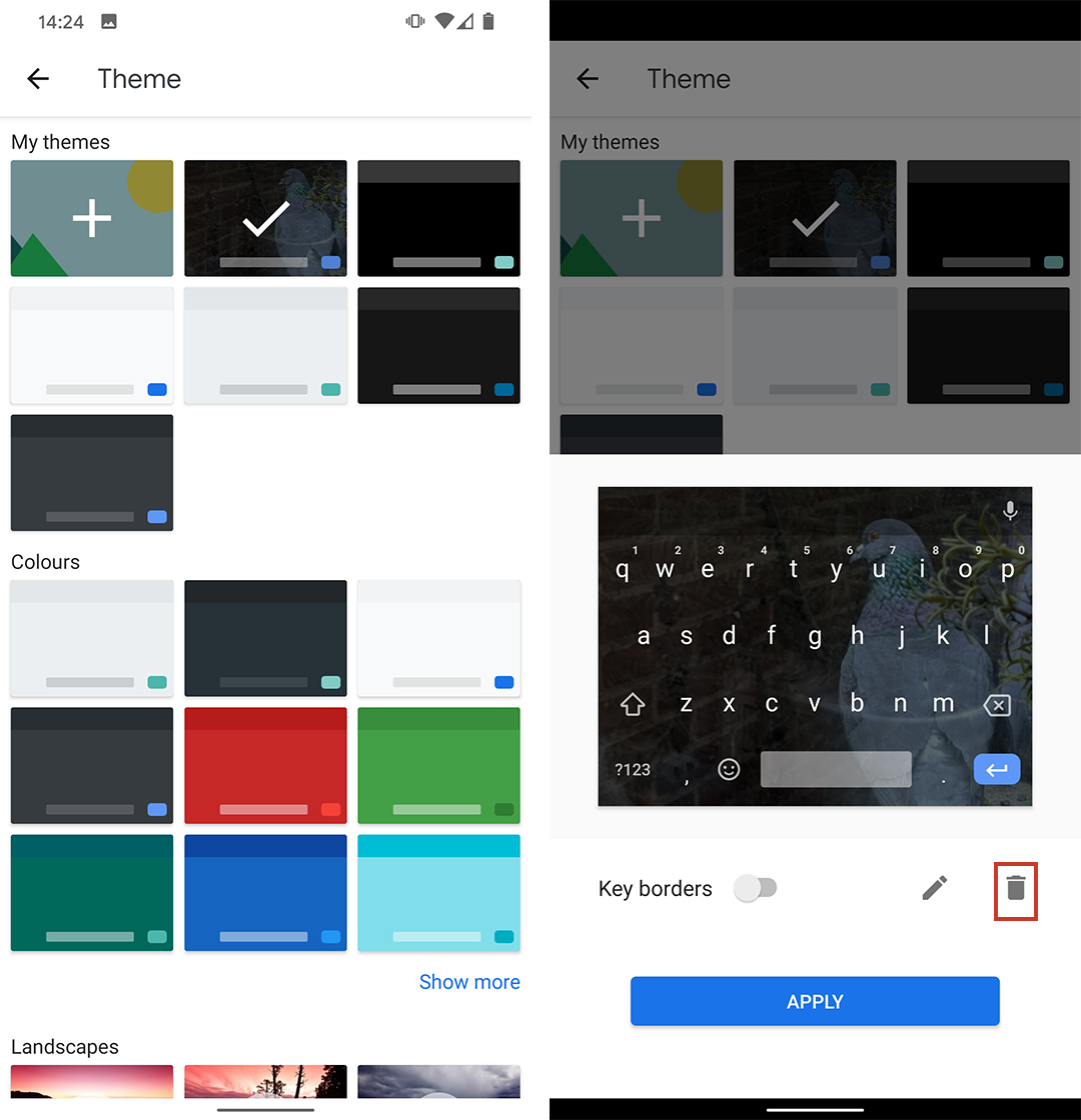 Delete a theme in Gboard