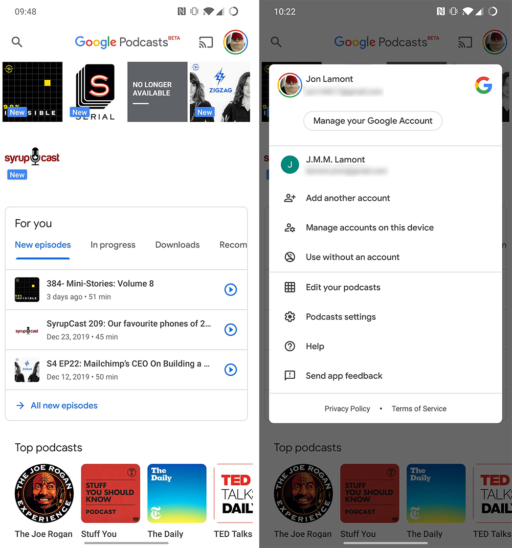 Google Podcasts account switcher