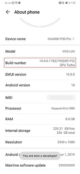 Huawei developer options