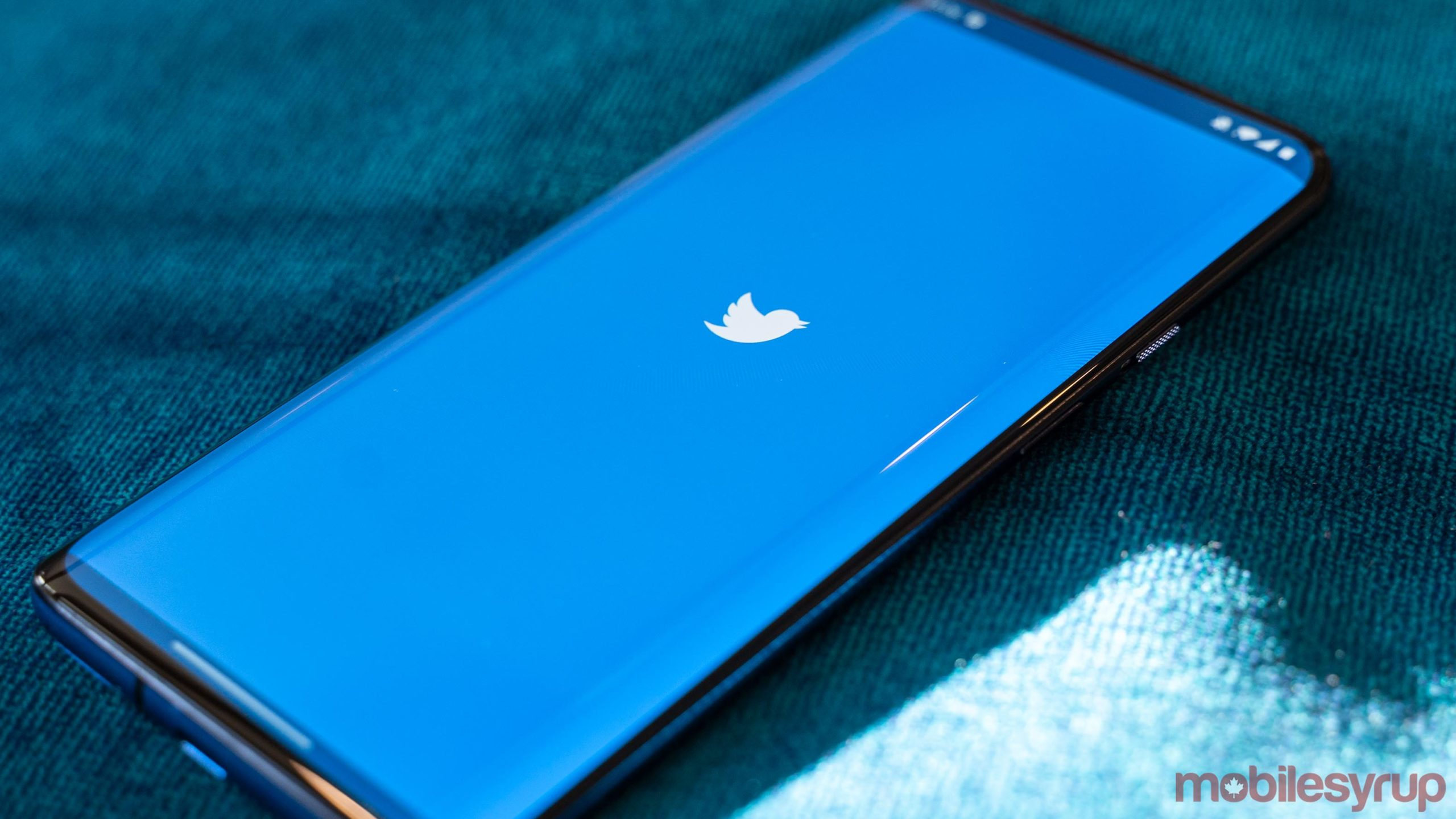 Twitter logo on a phone