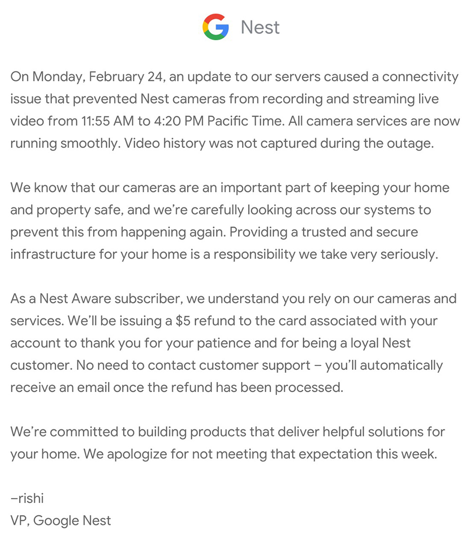 Google Nest refund email