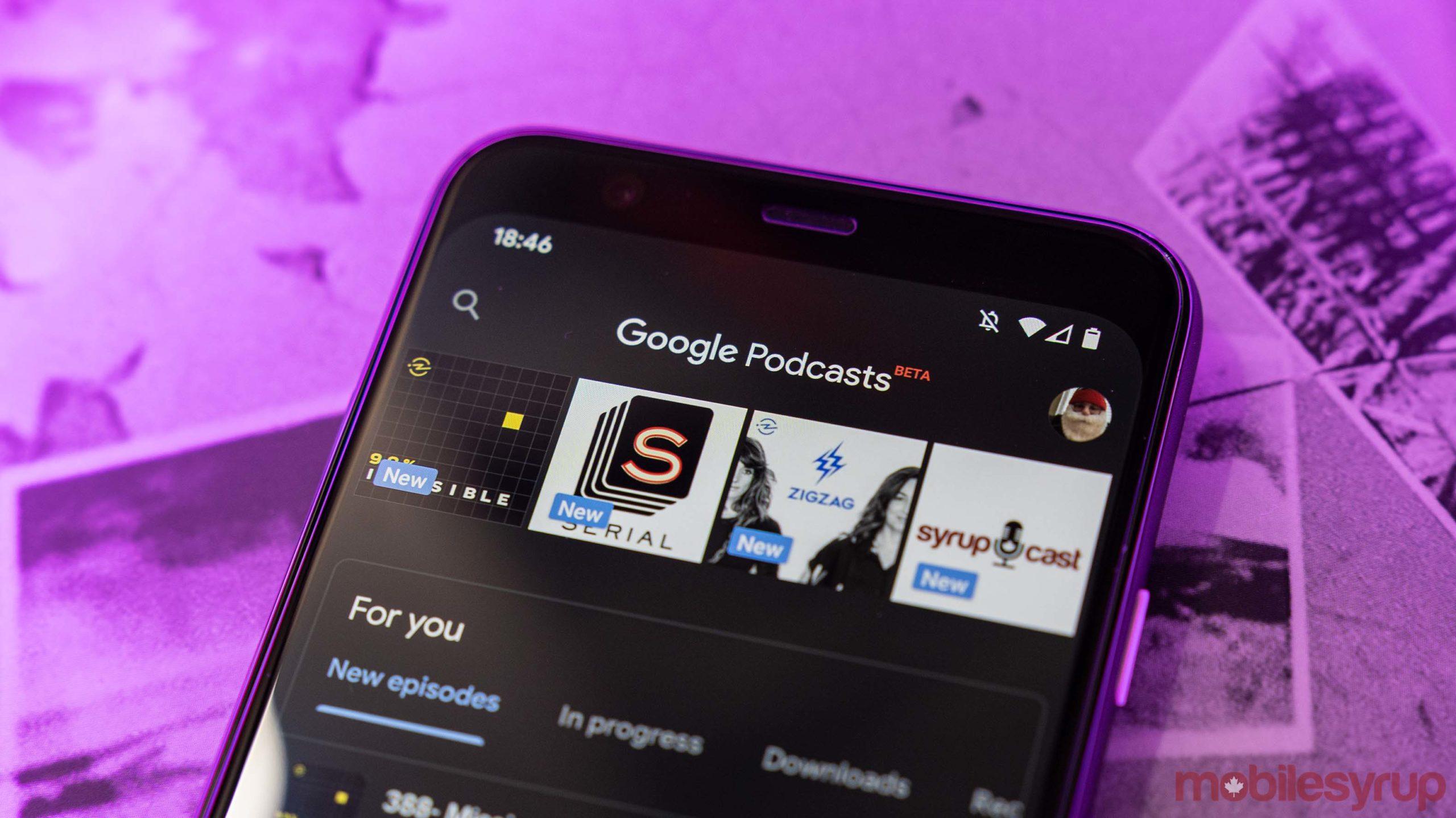 Google Podcasts dark mode