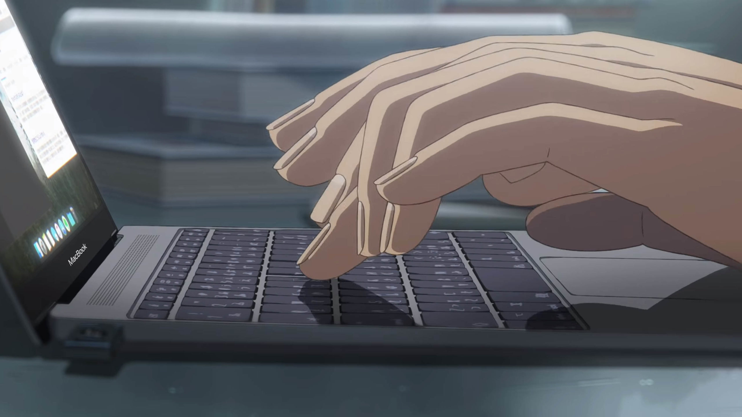 MacBook illustration from anime