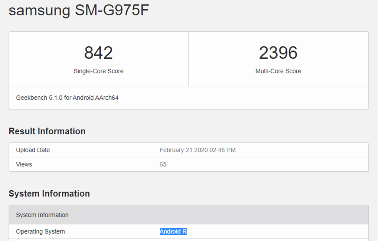 Samsung Galaxy S10+ Android 11 Geekbench score