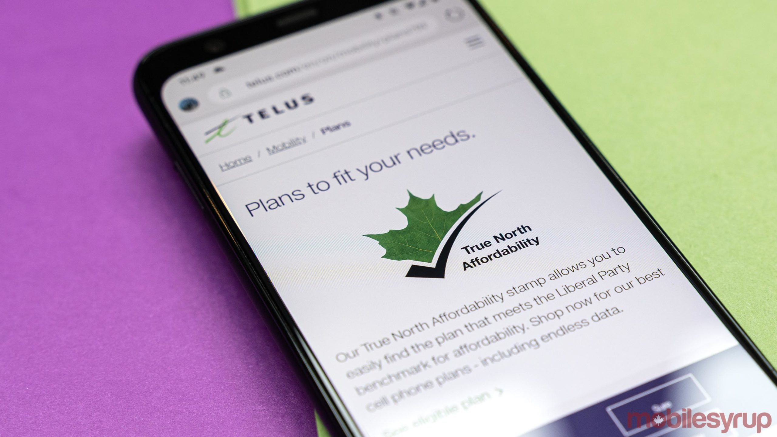 Telus 'True North Affordability' stamp