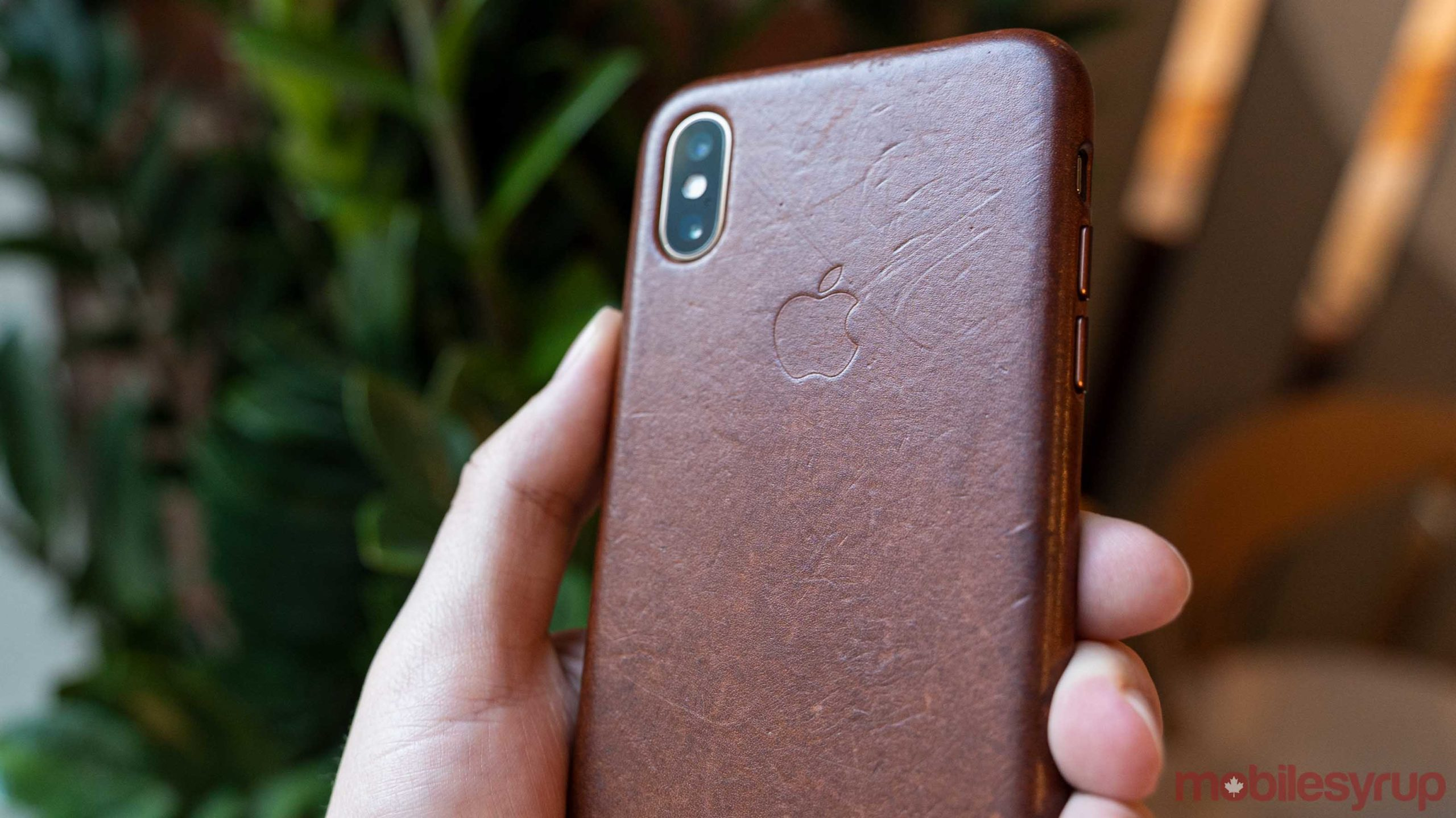Apple logo on leather case