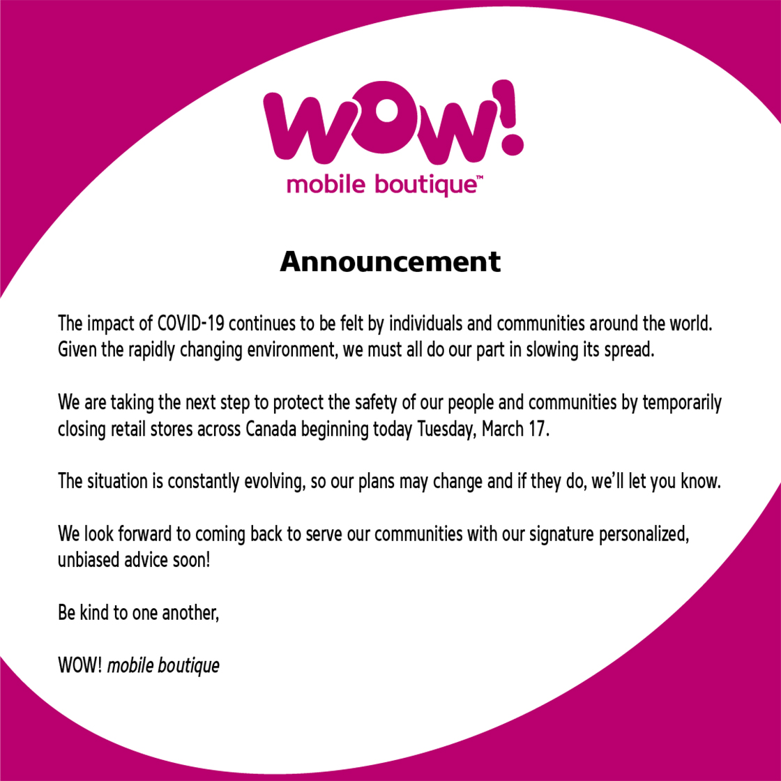 Wow Mobile COVID-19 announcement