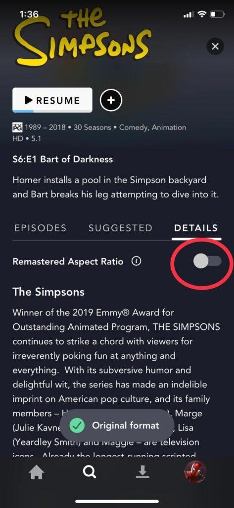 Disney+ The Simpsons aspect ratio