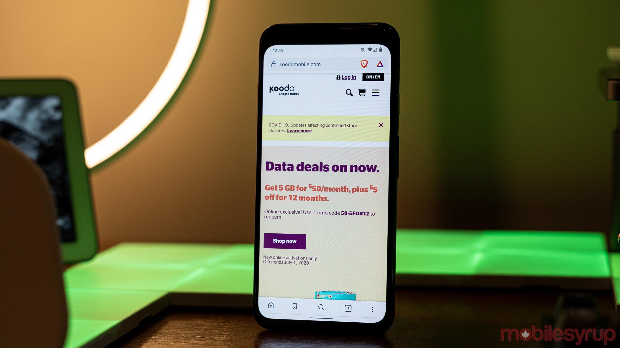 Koodo website on a smartphone