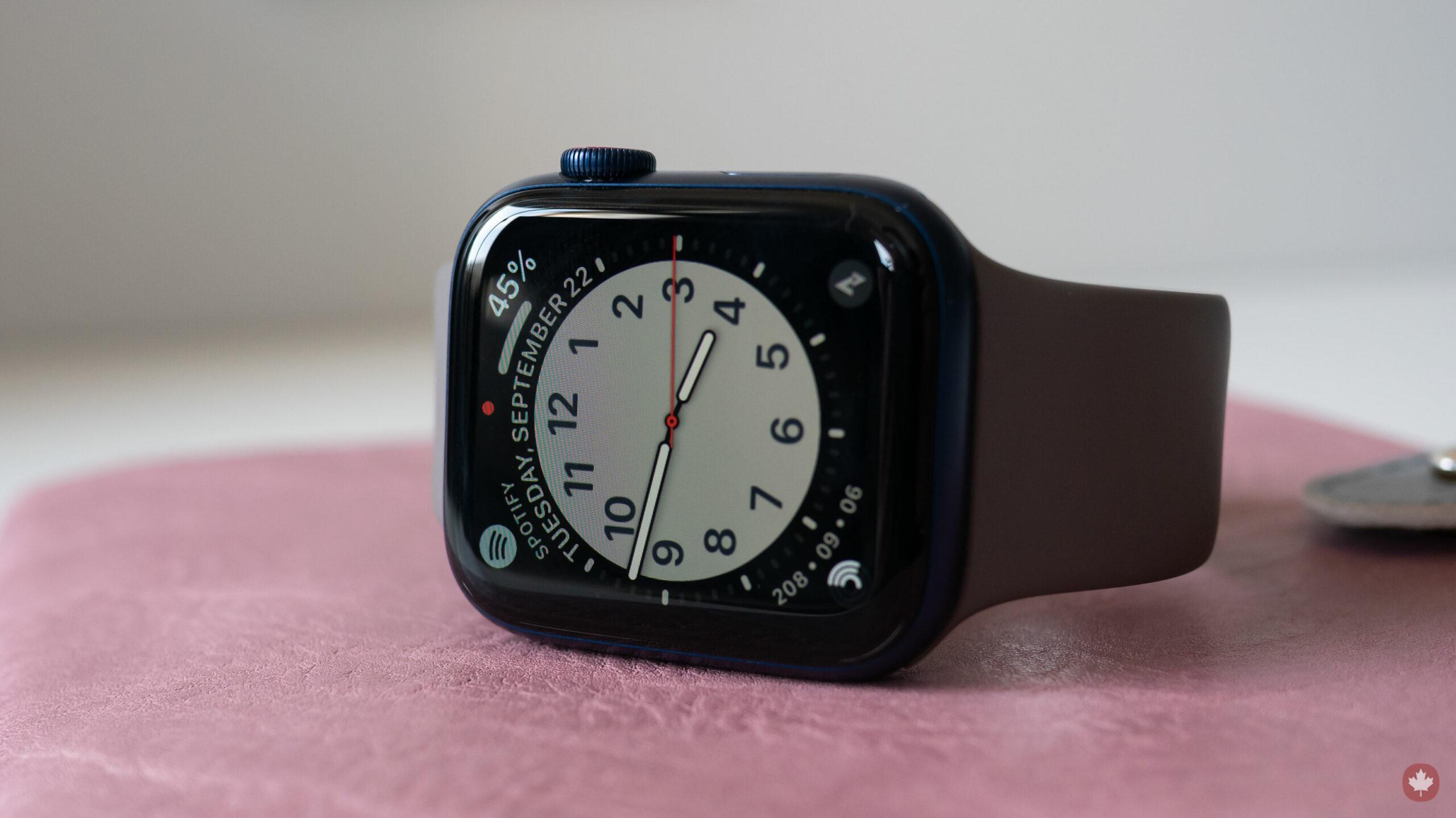 Apple Watch Series 6 on its side