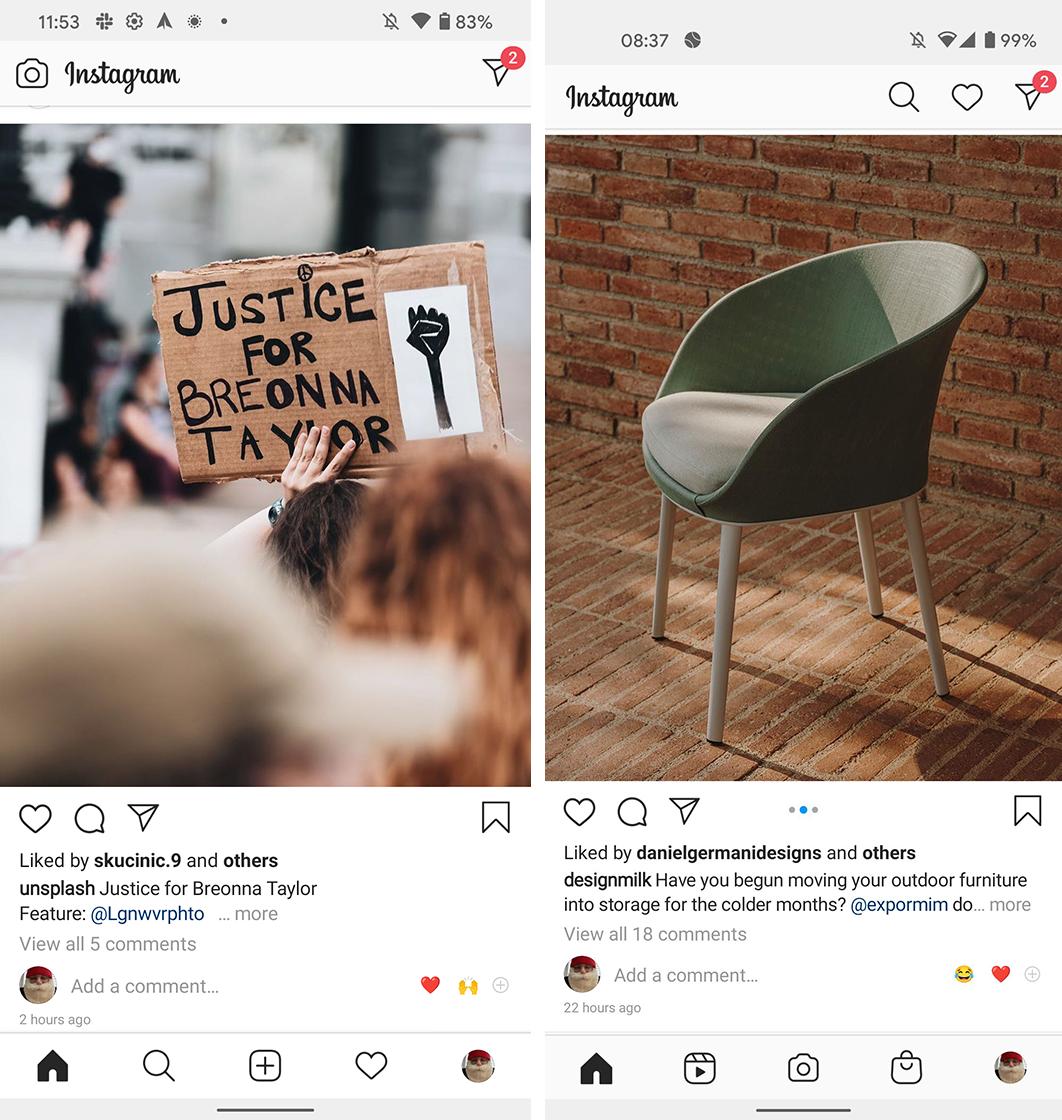 Instagram new layout