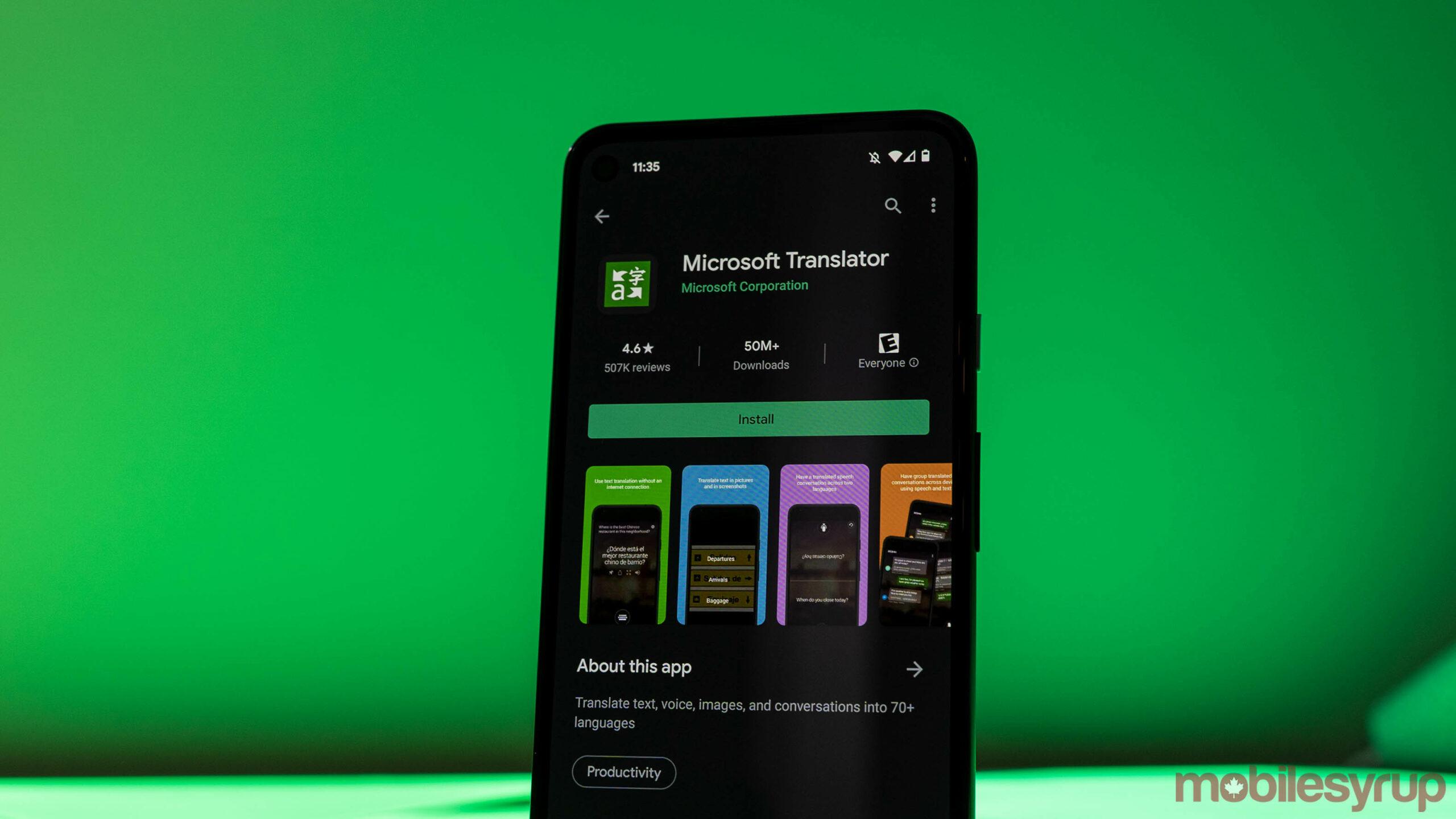Microsoft Translator on Android