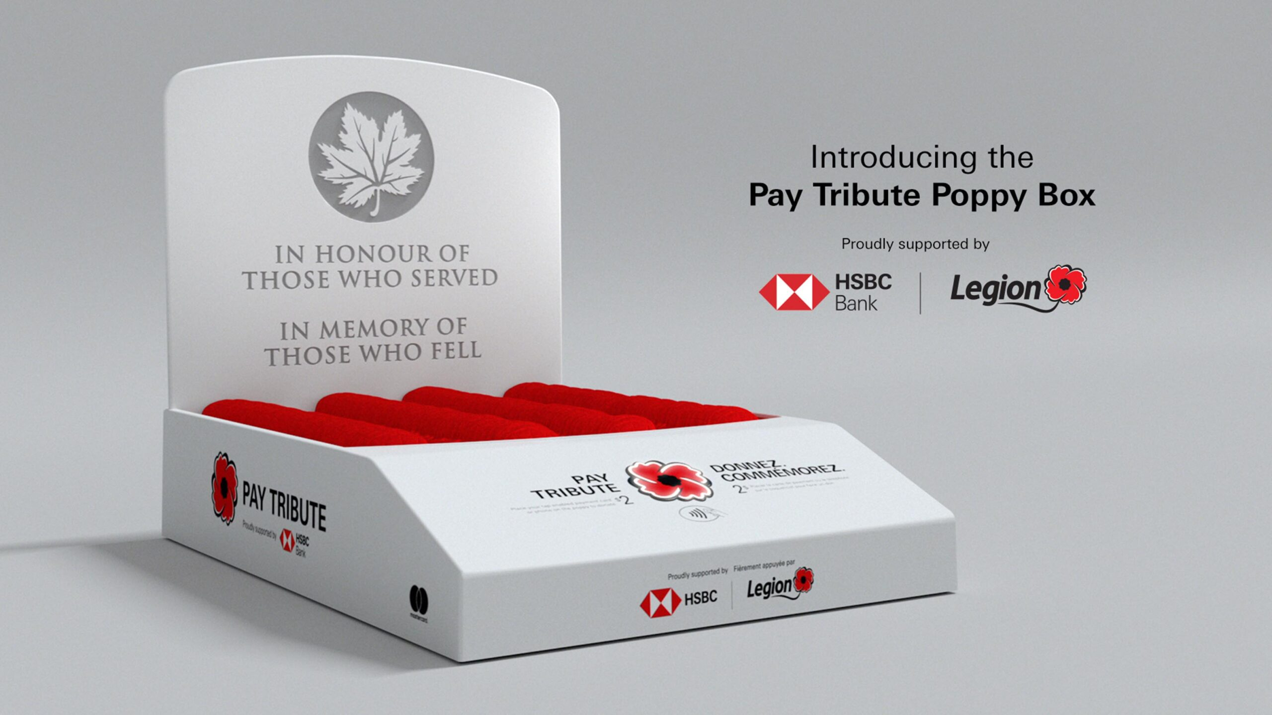 Tap-enabled poppy donation box