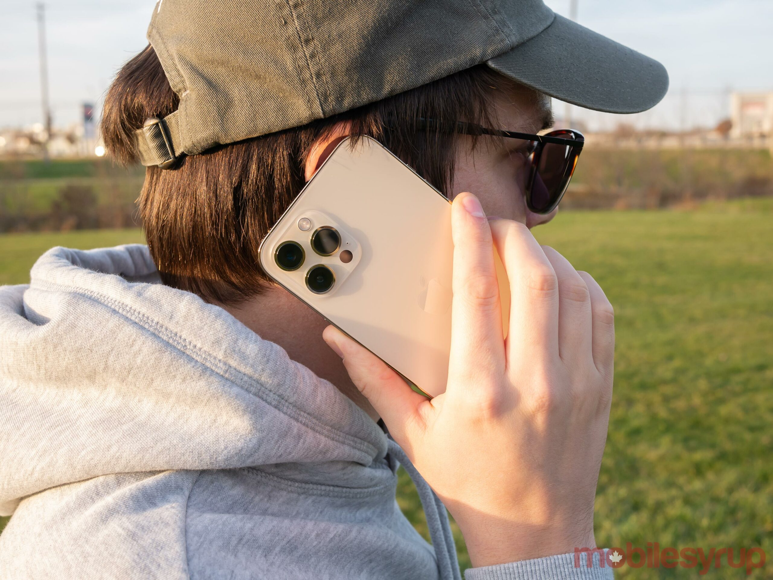 Taking a call on the iPhone 12 Pro Max