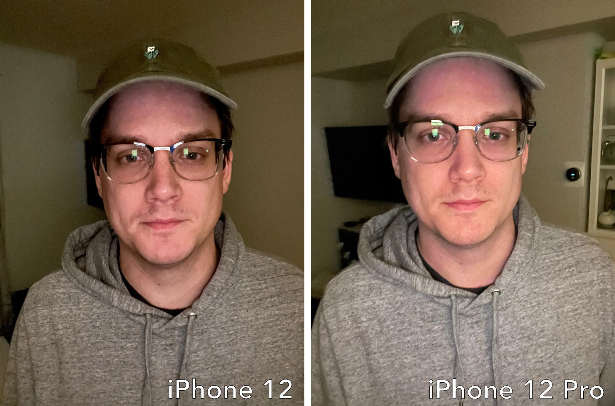 iPhone 12 selfie shooter comparison