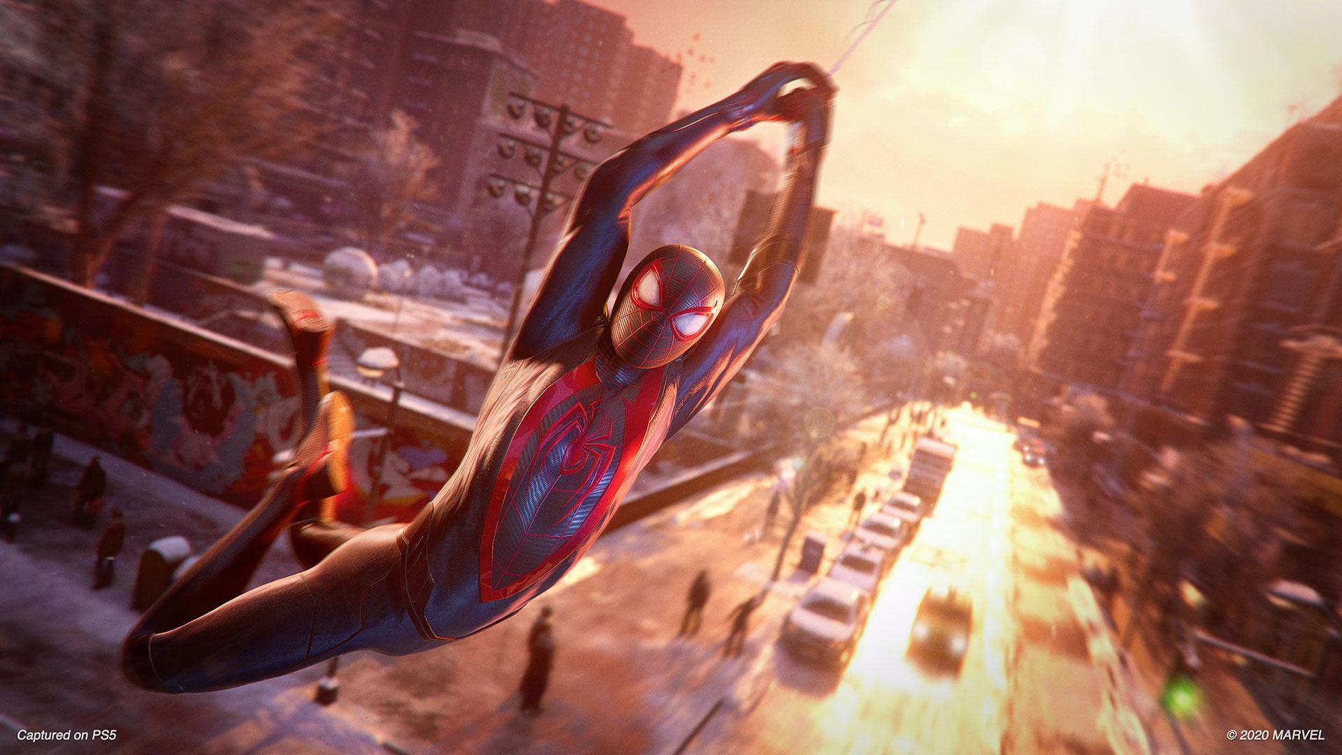 Marvel's Spider-Man Miles Morales swinging