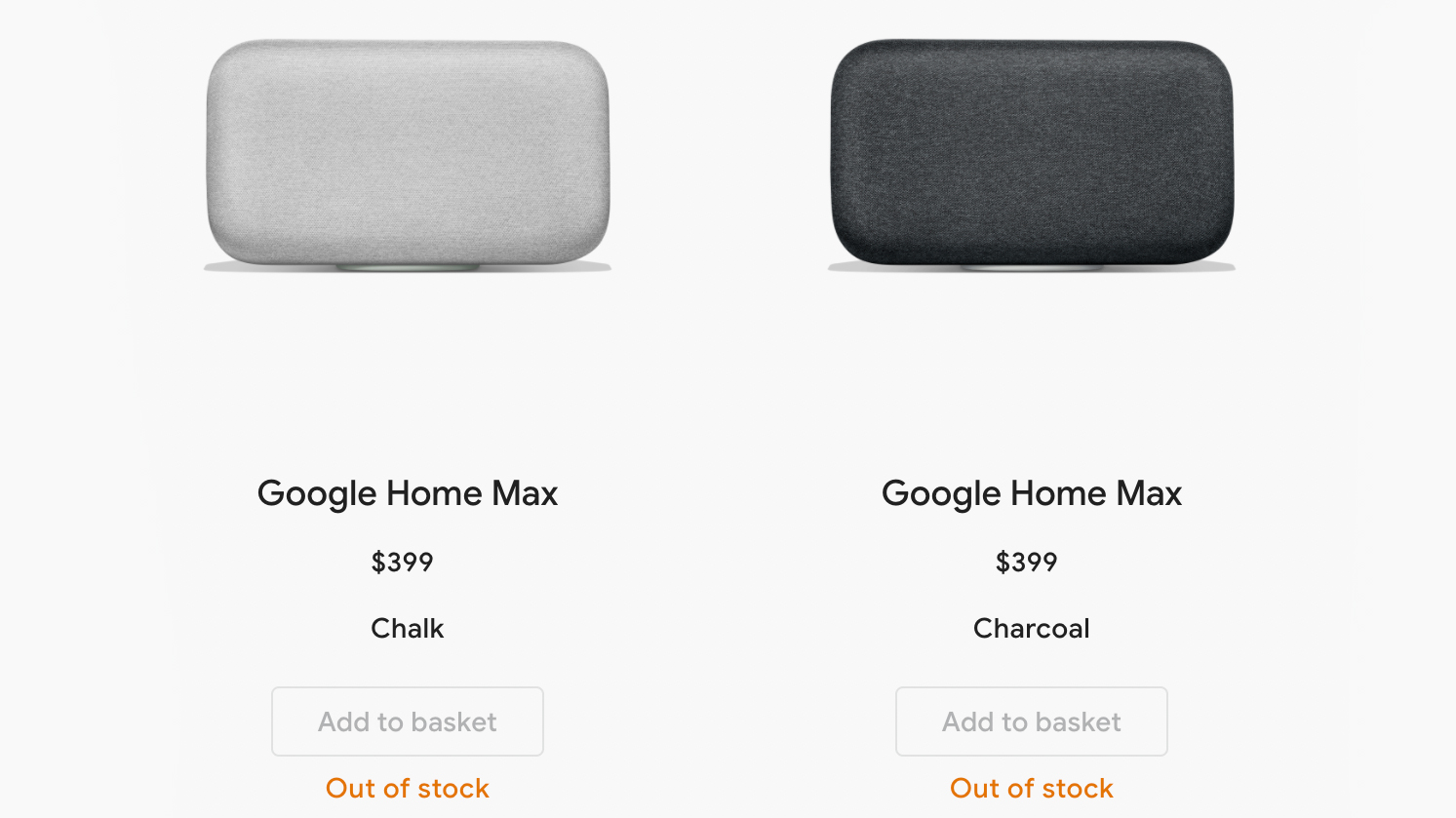 Google Max sold out from the google store