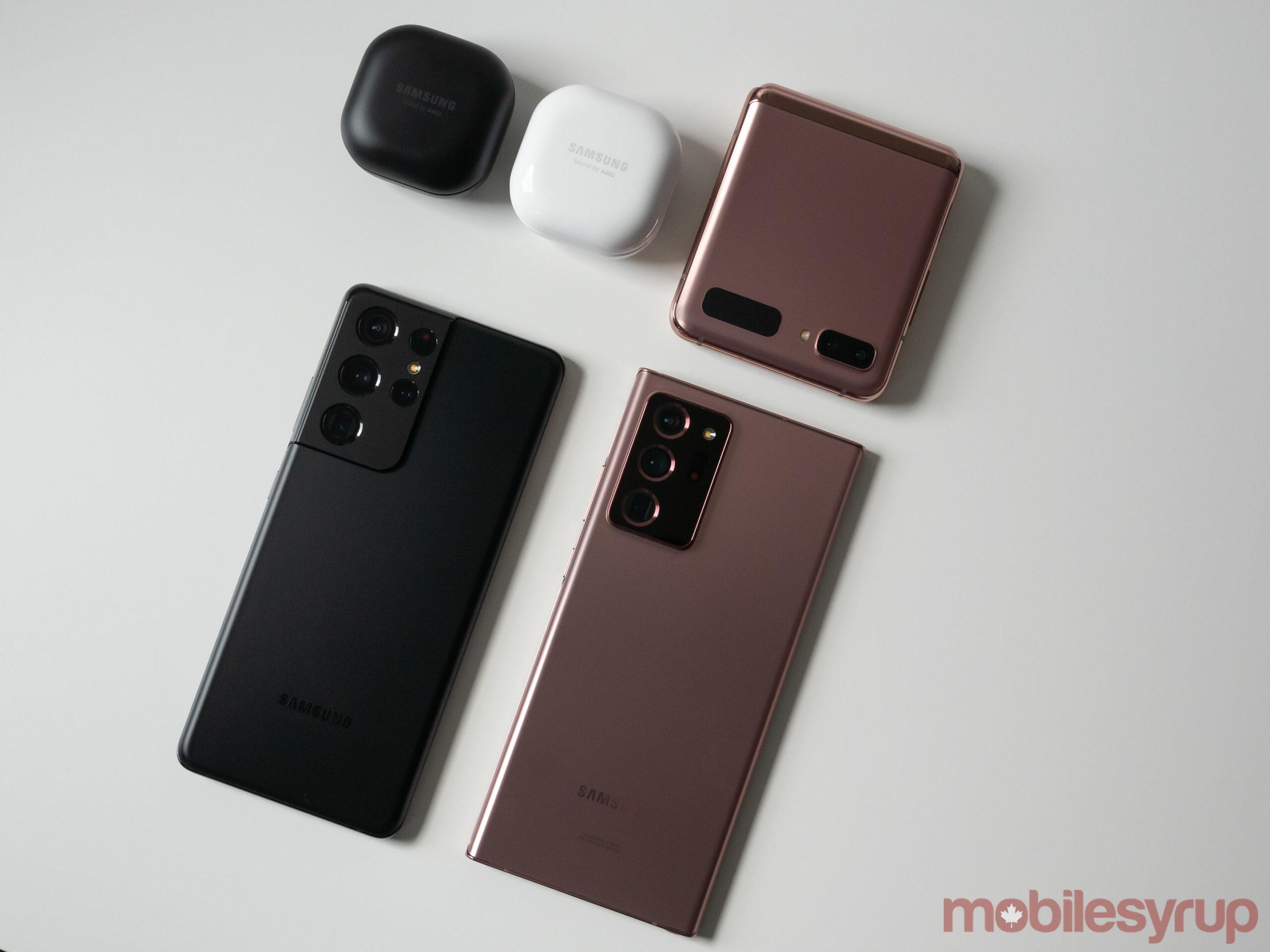 The Galaxy Buds Pro, Galaxy Buds Live, Galazy Z Flip 5G, Galaxy S21 Ultra and Galaxy Note 20 Ultra