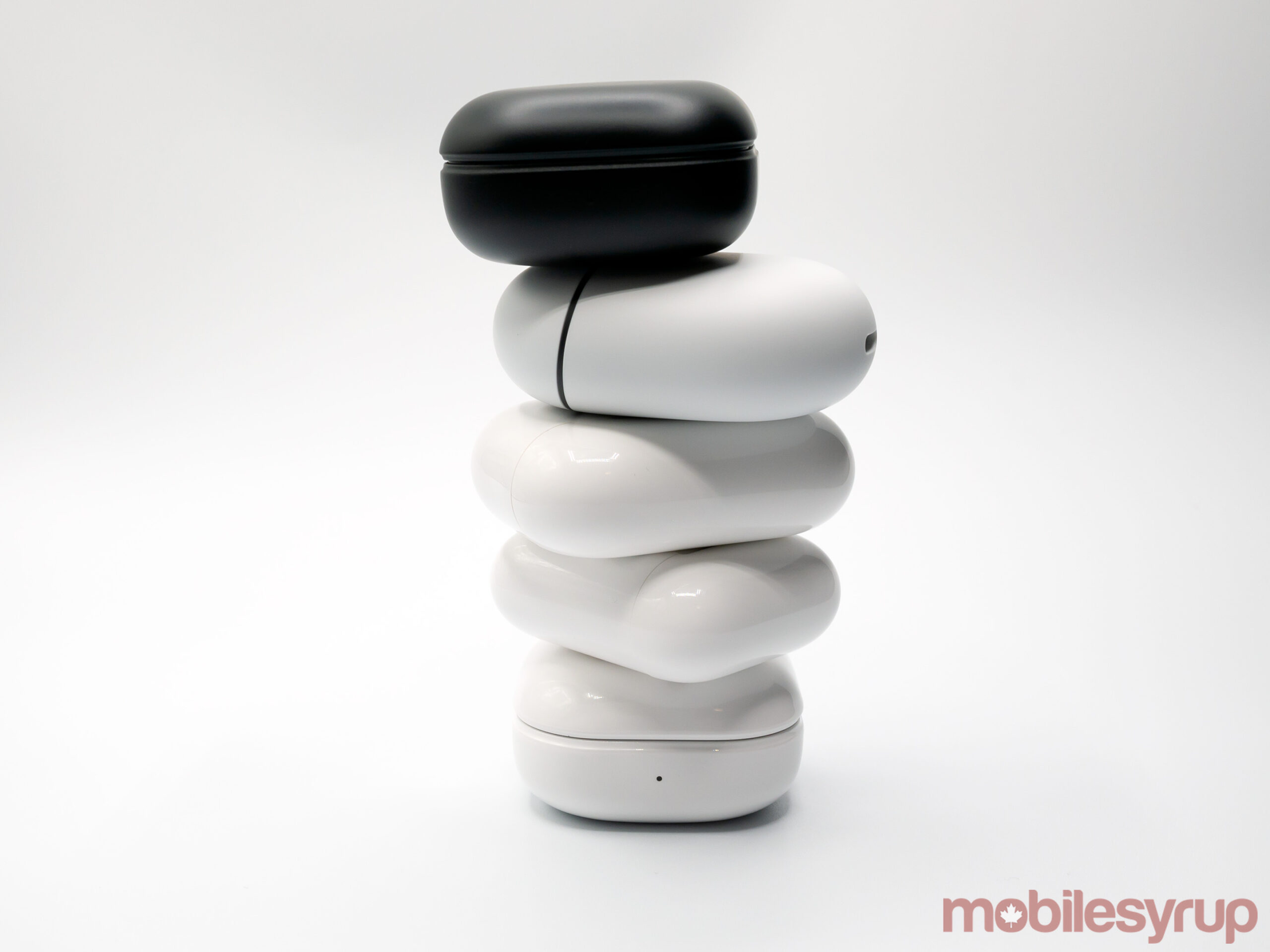All of the earbuds stacked