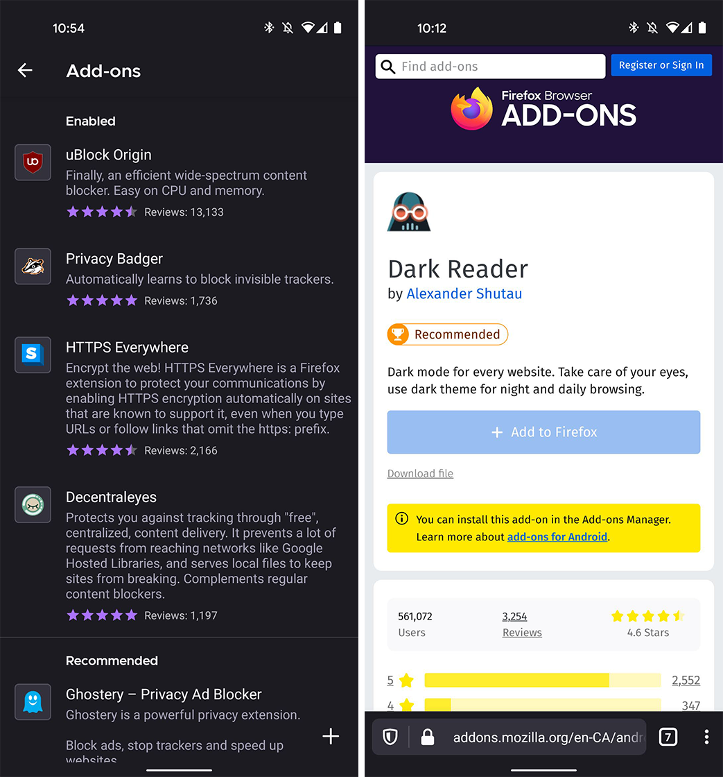Firefox for Android add-ons