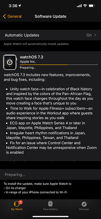 watchOS 7.3 update