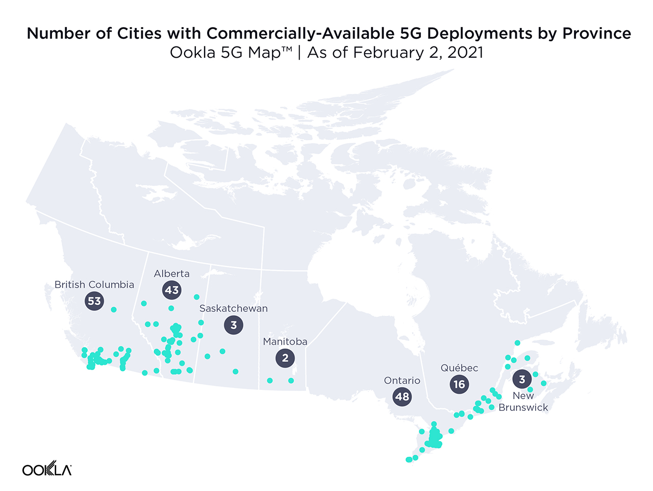 Provinces with 5G deployments