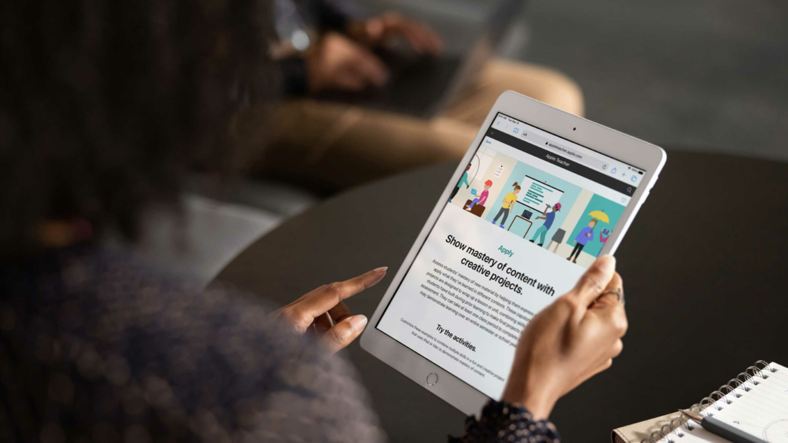 Apple's new education content on an iPad