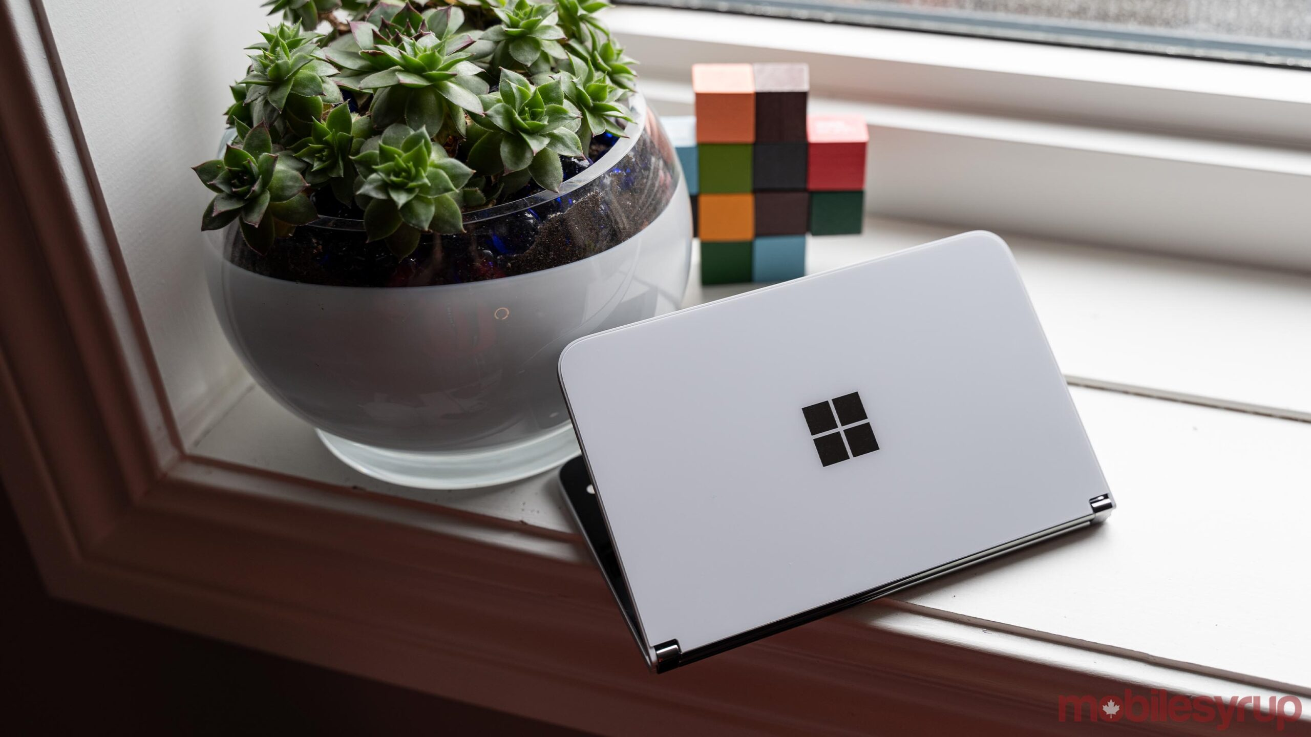 Microsoft Surface Duo partially folded