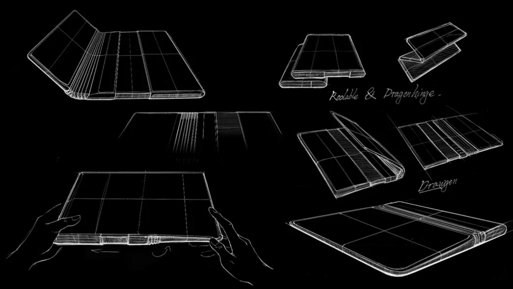 TCL folldable/rollable smartphone sketches.