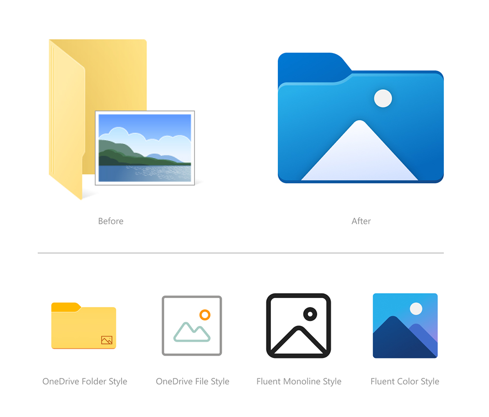 Before and after of the Windows 10 Pictures folder icon