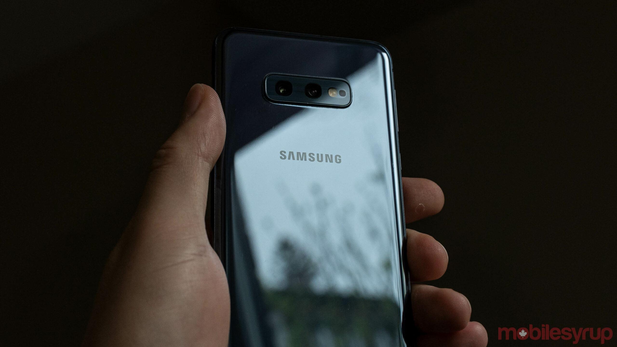 Samsung logo on a Galaxy smartphone