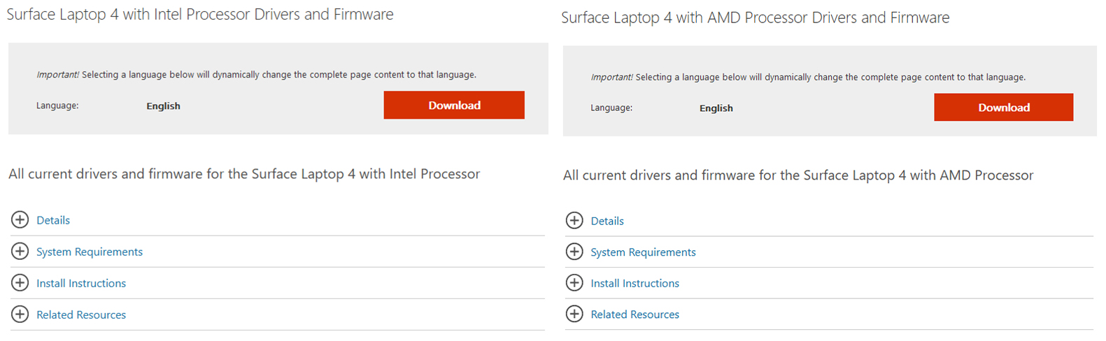 Microsoft Surface Laptop 4 support page screenshots